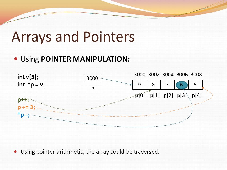 Arrays and Pointers Using POINTER MANIPULATION: int v[5]; int *p = v;